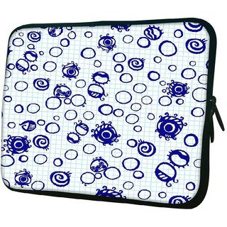 Snoogg Bubbles White 1010.2 Inch Soft Laptop Sleeve
