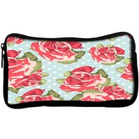 Snoogg  Beautiful Seamless Rose Pattern With Blue Polka Dot BackgroundPoly Canvas  Multi Utility Travel Pouch