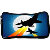 Snoogg  Moon And Jet Fighters Poly Canvas  Multi Utility Travel Pouch