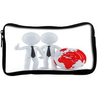 Snoogg  Business People Standing In Front Of The Globe Business ConceptPoly Canvas  Multi Utility Travel Pouch
