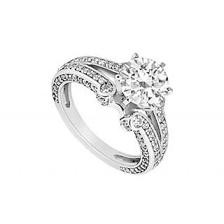 LoveBrightJewelry Voguish 14K White Gold & Diamond Engagement Ring-1.25 CT