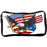Snoogg  Eagle And Us Flag Celebration Patriotic Design Poly Canvas  Multi Utility Travel Pouch