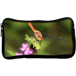 Snoogg Dragonfly On A Branch Poly Canvas  Multi Utility Travel Pouch