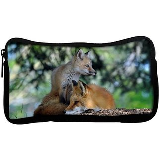 Snoogg Family Fox Poly Canvas  Multi Utility Travel Pouch