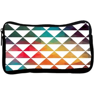 Snoogg White Triangles Poly Canvas S Multi Utility Travel Pouch