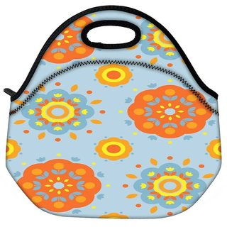 Snoogg Flower Pattern 2527 Travel Outdoor Tote Lunch Bag