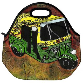 Snoogg New Delhi Auto Rickshaw 2889 Travel Outdoor Tote Lunch Bag
