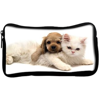 Snoogg Puppy With Persian Cat Poly Canvas  Multi Utility Travel Pouch