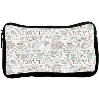 Snoogg Love Birds Offwhite Pattern Poly Canvas S Multi Utility Travel Pouch