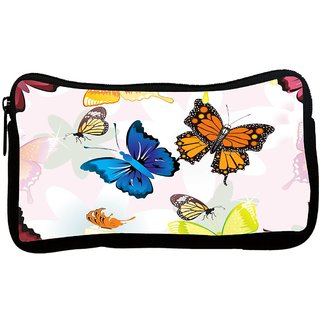 Snoogg Blue And Orange Butterfly Poly Canvas S Multi Utility Travel Pouch