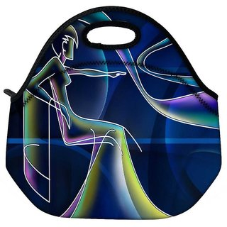 Snoogg Neon Outline Of A Woman 2668 Travel Outdoor Tote Lunch Bag