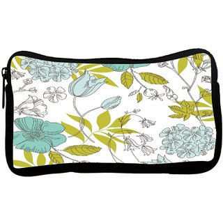 Snoogg Green Leaves White Poly Canvas S Multi Utility Travel Pouch