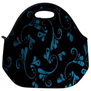 Snoogg Blue Abstract Design Travel Outdoor Tote Lunch Bag