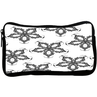 Snoogg Grey Floral Flower Poly Canvas S Multi Utility Travel Pouch