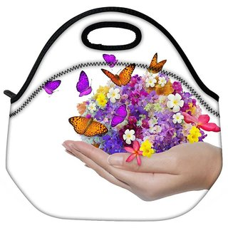 Snoogg Hand Holds Flower Spill Many Flowers And Butterfly Travel Outdoor Tote Lunch Bag
