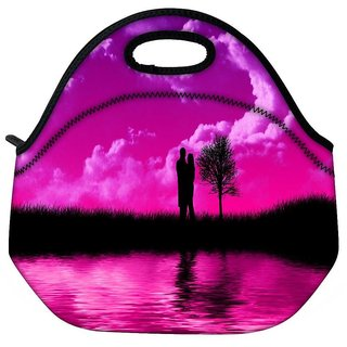 Snoogg Loving Couple Travel Outdoor Tote Lunch Bag