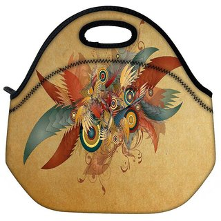 Snoogg Feathers And Circles Travel Outdoor Tote Lunch Bag