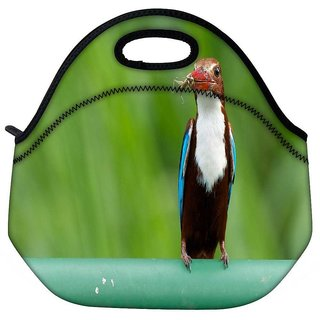 Snoogg Kingfisher Bird Travel Outdoor Tote Lunch Bag