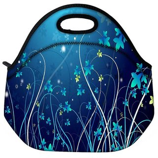 Snoogg Blue Petals Travel Outdoor Tote Lunch Bag
