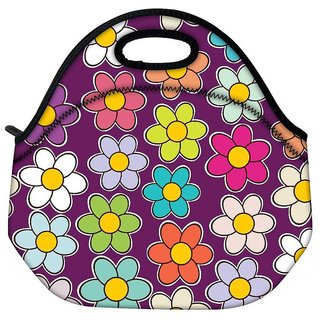 Snoogg Seamless Floral Pattern Flowers Texture Daisy Travel Outdoor Tote Lunch Bag