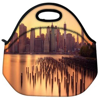 Snoogg New York Docks Travel Outdoor Tote Lunch Bag