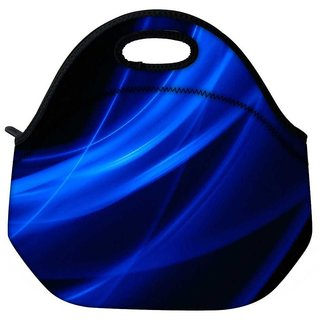 Snoogg Blue Waves In Black Travel Outdoor Tote Lunch Bag