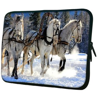 Snoogg White Horse 10.2 Inch Soft Laptop Sleeve