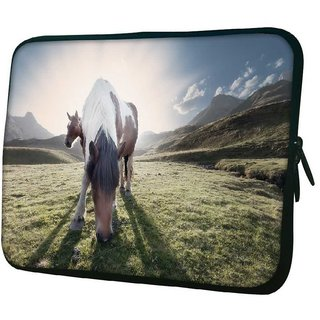 Snoogg Horse Eating Grass 10.2 Inch Soft Laptop Sleeve