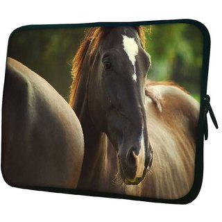 Snoogg Black Horse 10.2 Inch Soft Laptop Sleeve
