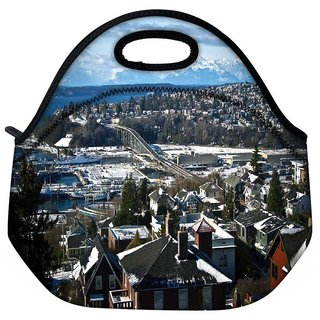 Snoogg Snow On The Roof Travel Outdoor Tote Lunch Bag