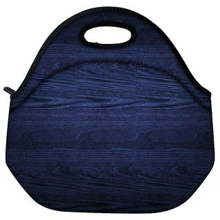 Snoogg Dark Blue Wood Wall Travel Outdoor Tote Lunch Bag