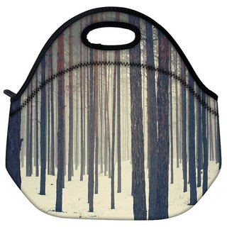 Snoogg Snow In Forest Travel Outdoor Tote Lunch Bag