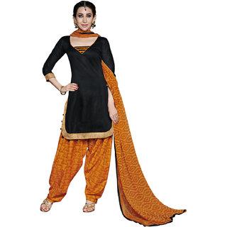 Mahiyar Attractive Black and Orange Printed Dress Material
