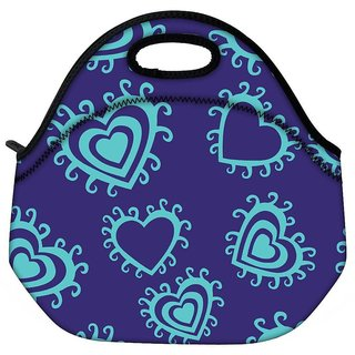 Snoogg Green Heart Blue Pattern Travel Outdoor CTote Lunch Bag