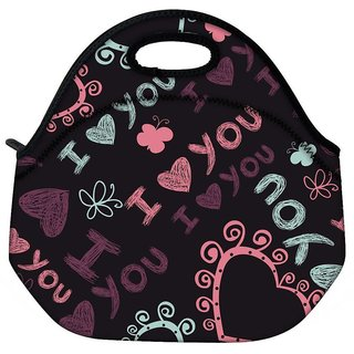 Snoogg I Love You Black Pattern Travel Outdoor CTote Lunch Bag