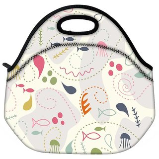 Snoogg Fish World Travel Outdoor CTote Lunch Bag