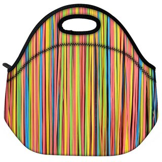Snoogg Colorful Strips Travel Outdoor CTote Lunch Bag