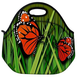 Snoogg Butterflies Travel Outdoor Tote Lunch Bag