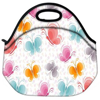 Snoogg Colourful Butterflies Travel Outdoor Tote Lunch Bag
