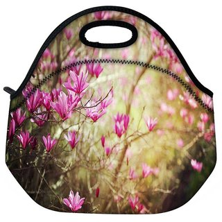 Snoogg Small Flowers Travel Outdoor Tote Lunch Bag