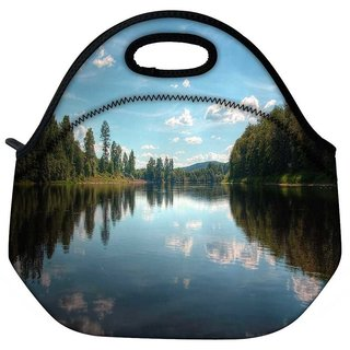 Snoogg Lake And The Jungle Travel Outdoor Tote Lunch Bag