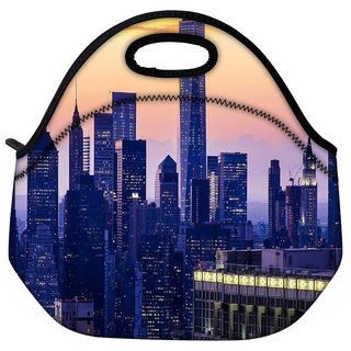 Snoogg Buildings At Night Travel Outdoor Tote Lunch Bag