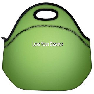 Snoogg Love Your Desktop Green Travel Outdoor Tote Lunch Bag