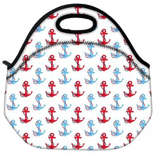 Snoogg Colorful Anchors Travel Outdoor Tote Lunch Bag