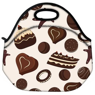 Snoogg Brown Chocolates Travel Outdoor Tote Lunch Bag