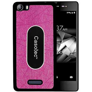 Casotec Metal Back TPU Back Case Cover for Micromax Canvas 5 E481 - Pink