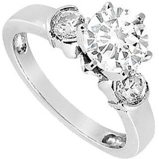 LoveBrightJewelry In Vogue 18K White Gold & Diamond Engagement Ring-0.50 CT