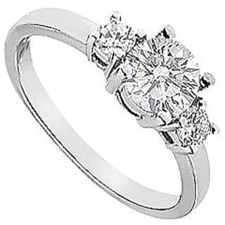 LoveBrightJewelry 18K White Gold Three Stone Diamond Engagement Ring-1.00 CT