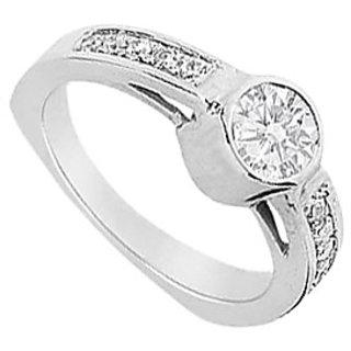 LoveBrightJewelry Classy 18K White Gold & Diamond Engagement Ring-1.00 CT