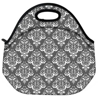 Snoogg White And Grey Pattern Travel Outdoor CTote Lunch Bag